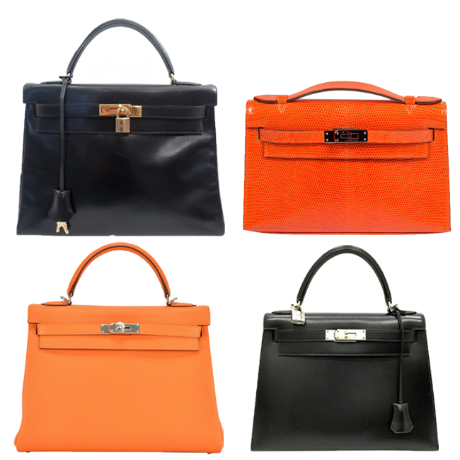HERMES_KELLY_BAG_VINTAGE_SECOND_HAND_ORANGE_BLACK_GOLD_HARDWARE_SILVER