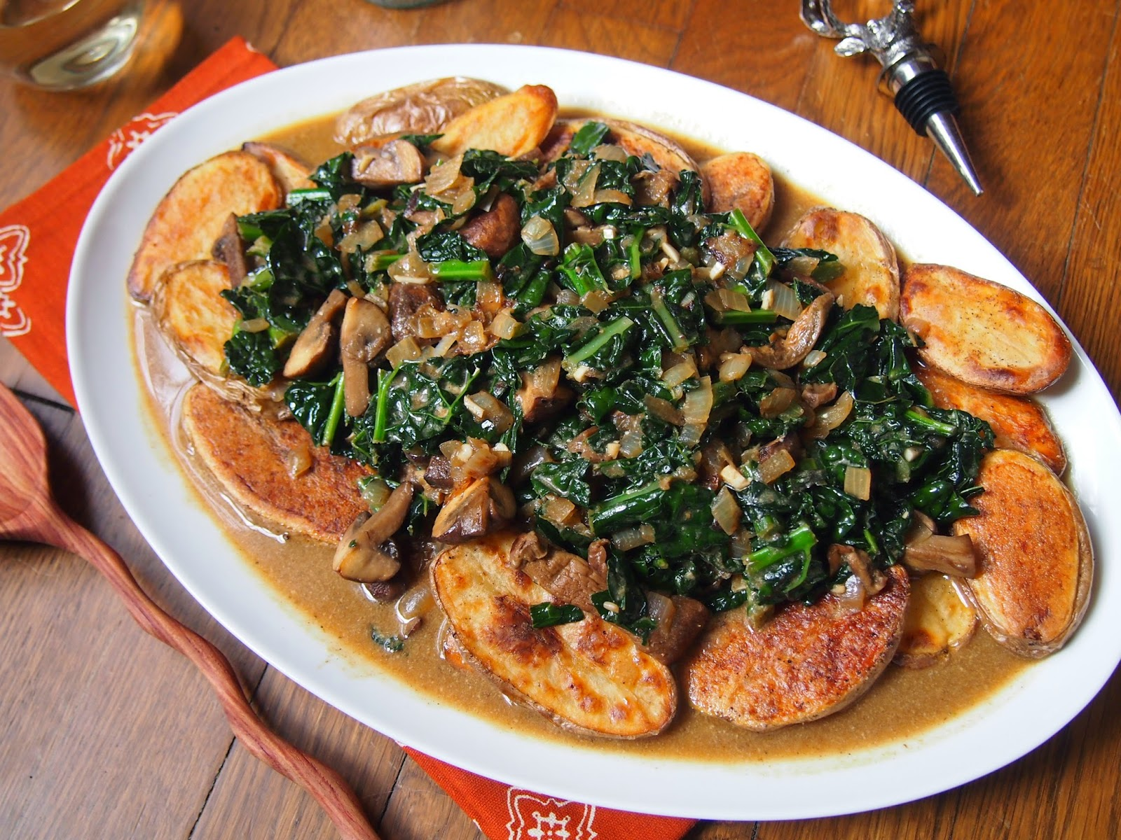 vegetarian spin on classic stroganoff using kale and meaty mushrooms ...