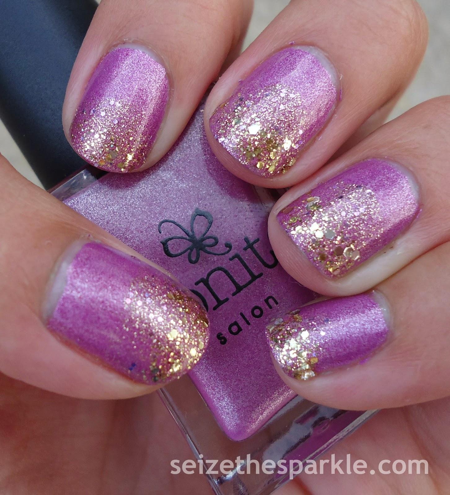 Violet & Gold Gradient Manicure