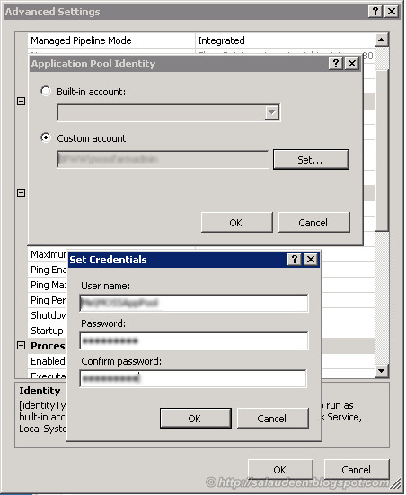 Set Application Pool Account User Name password in IIS