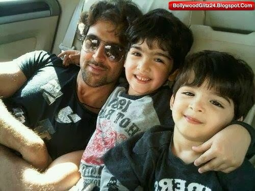 Hrithik Roshan with his cute Kids