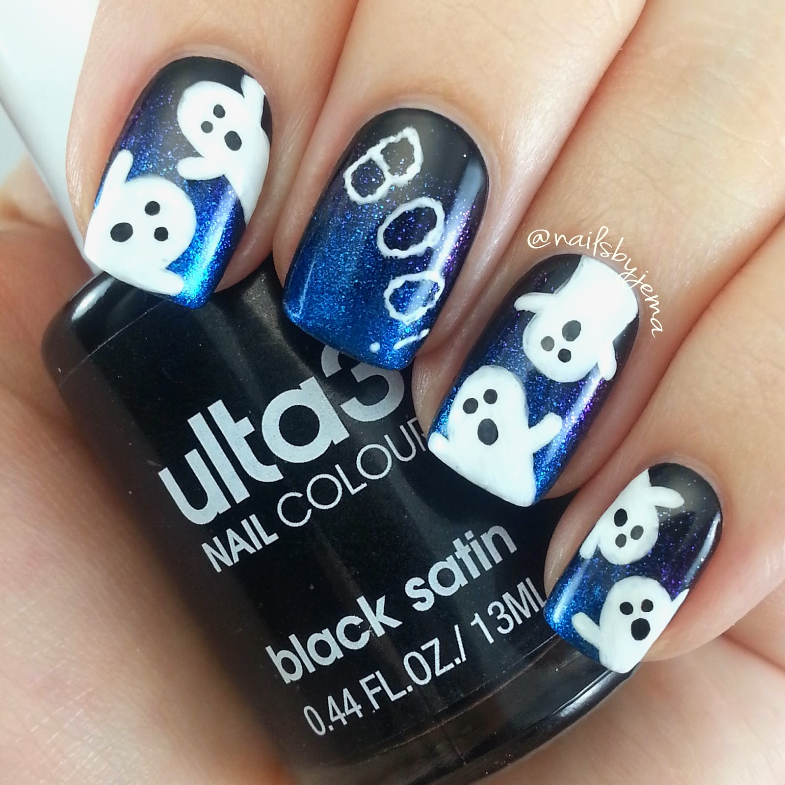 Nails by jema cute halloween ghosts mani and gel pen announcement the ghosts were painted with acrylic paint and my black uniball signo gel pen used for the faces and white uniball signo gel pen for the word boo prinsesfo Gallery