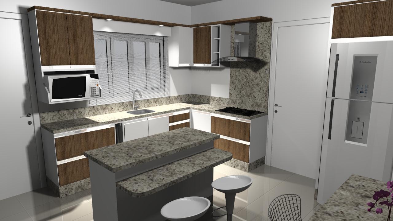Inovar Ambientes: Cozinha com mesa e bancada.