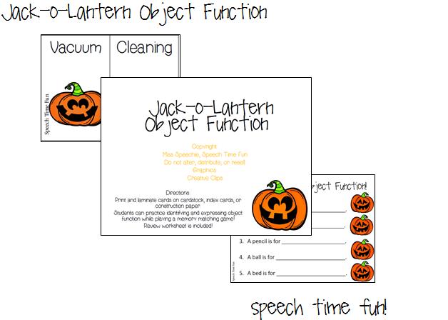 Object Function Speech Therapy Worksheet : Speech time fun jack o lantern object function