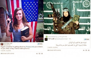 woman with gun, Saudi flag, and Q'uran