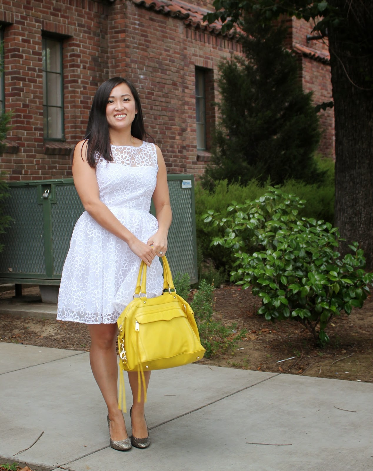 et Beaute, BB Dakota Huela Organza Embroidered Dress, Rebecca Minkoff MAB canary yellow, Sole Society Brooklyn Glitter Pumps
