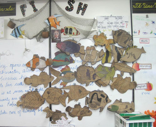 Group of Paper Bag Fish Project
