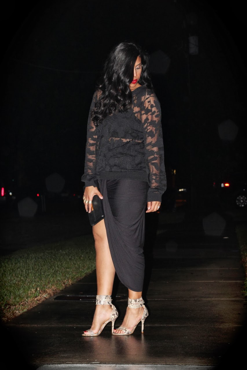 sheer black top asymmetrical free people twist shout skirt steve madden snake shoes gucci bamboo