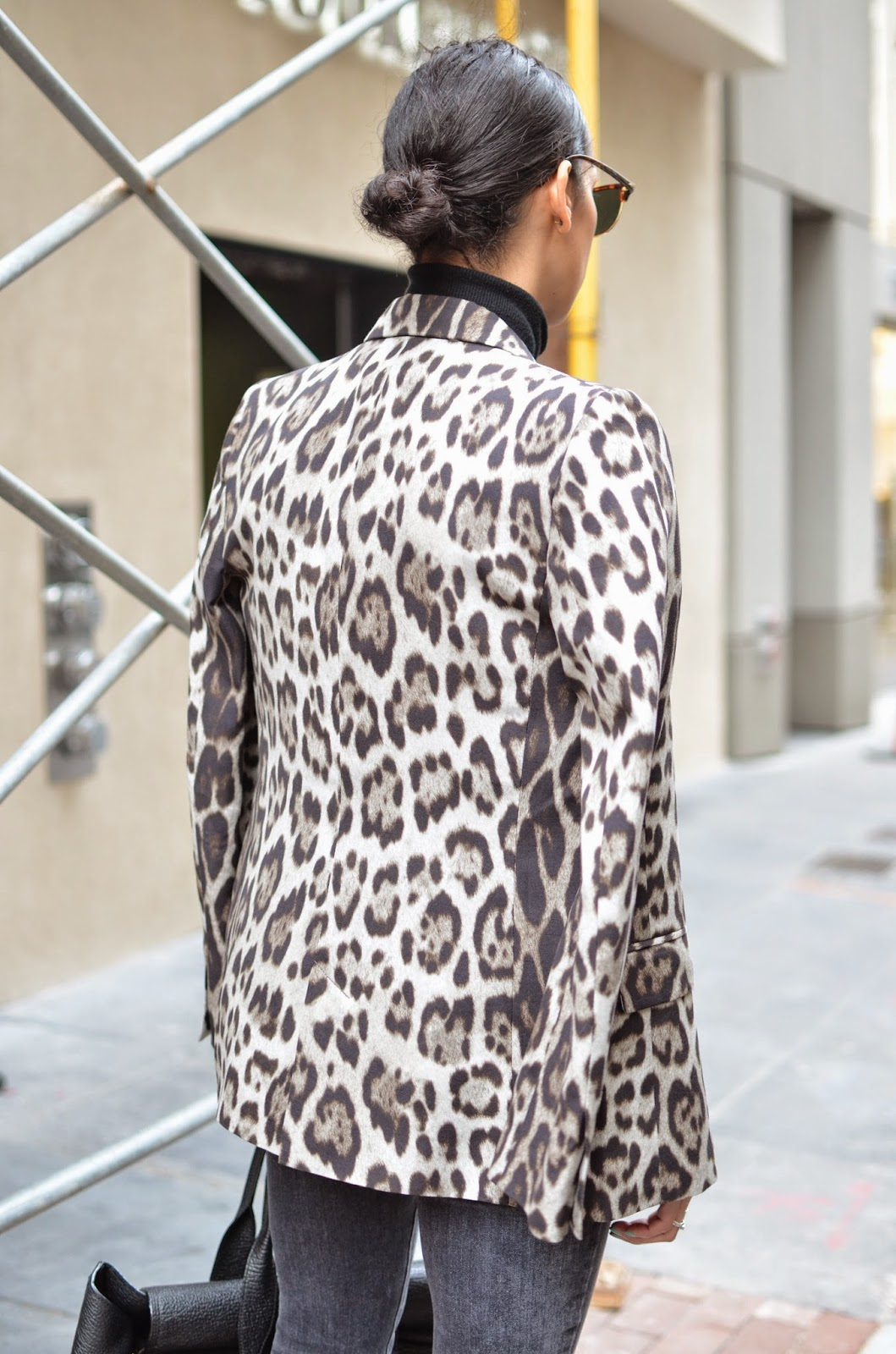 leopard print blazer, black turtleneck, SF street style, SF style blogger, SF fashion blogger, Maiden Lane, grey distressed denim, J. Brand denim, Jean Michel Cazabat heels, 3.1 Phillip Lim Pashli