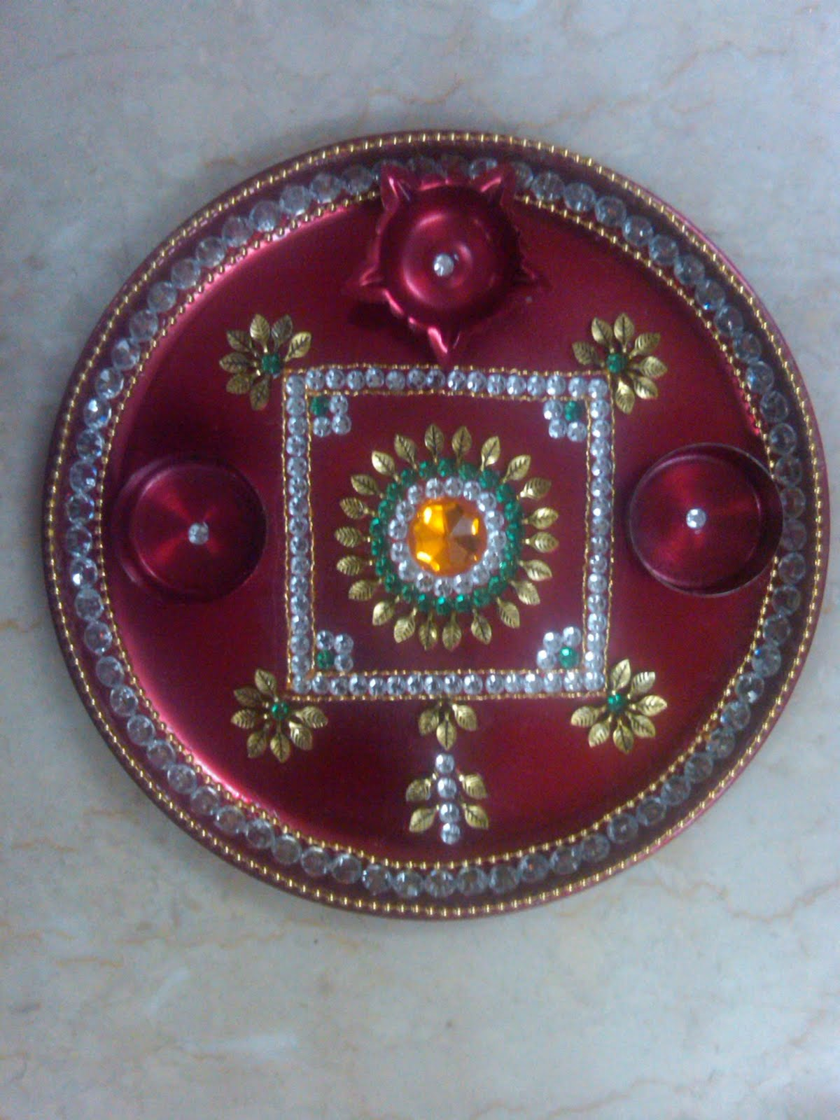 Ranjana arts www ranjanaarts com aart thali pooja thali for Aarti thali decoration with flowers