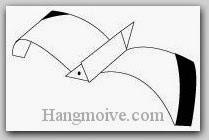 Bước 10: Vẽ mắt để hoàn thành cách xếp con chim hải âu bằng giấy theo phong cách origami.