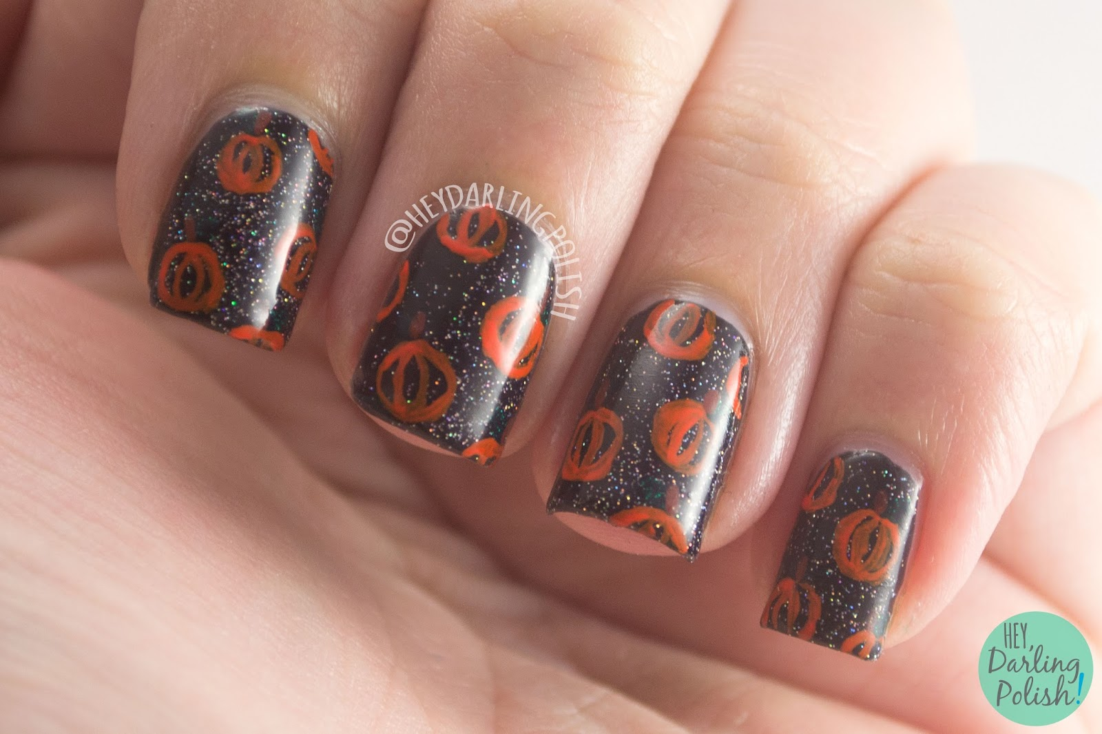 nails, nail art, nail polish, pumpkins, halloween, hey darling polish, nail linkup, naillinkup