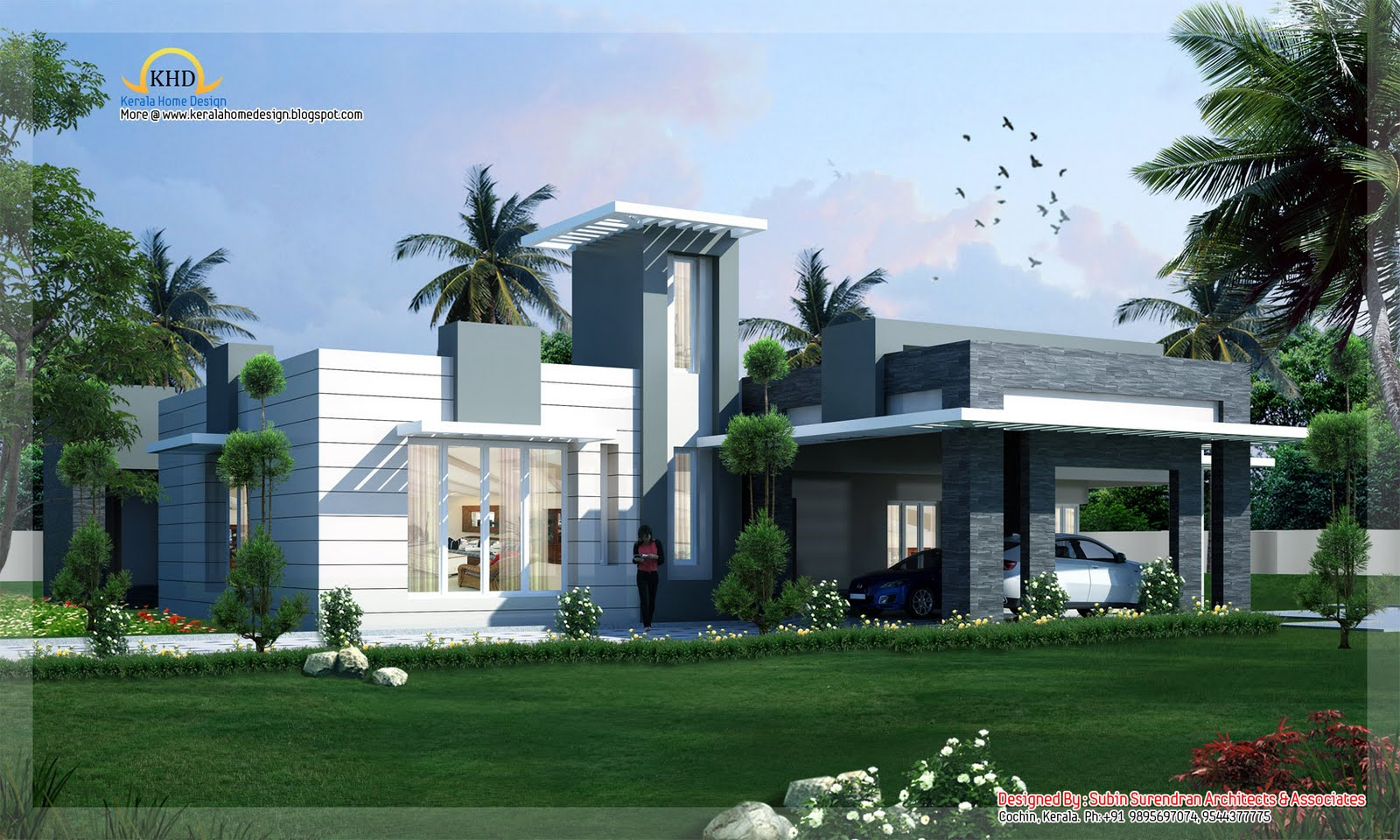 Modern contemporary home design 4500 sq ft kerala home design and floor plans for Contemporary modern home designs