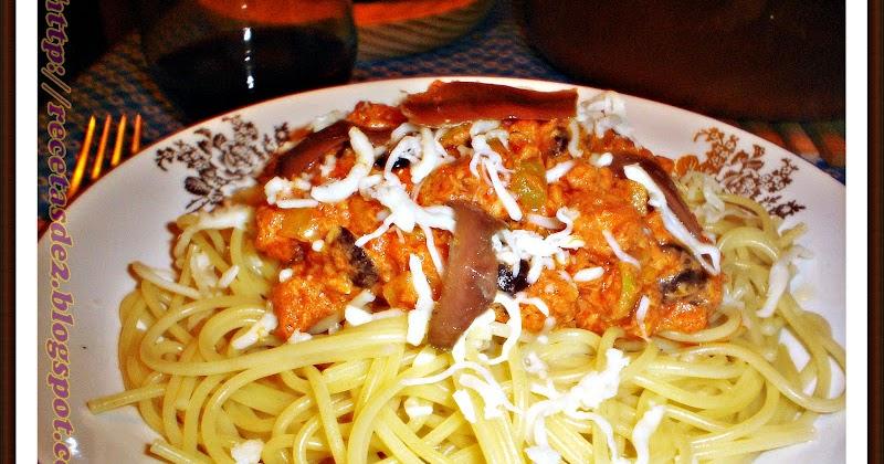 Espagueti a las dos olivas con anchoas recetas de una for Espaguetis para dos