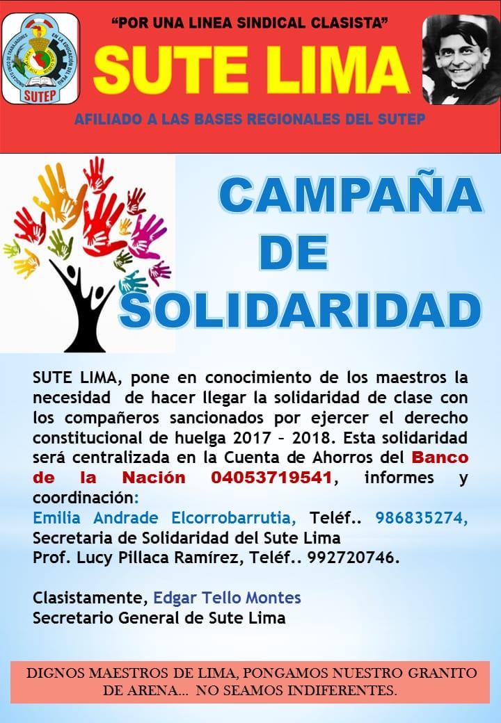 CAMPAÑA DE SOLIDARIDAD CON LOS MAESTROS SANCIONADOS