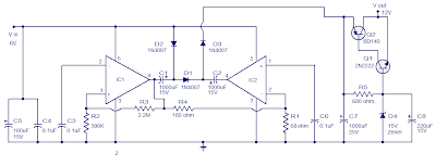 Voltage converter circuit using TDA 2003
