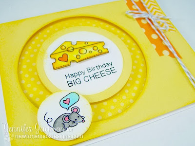 Spinner card with mouse and cheese using Just Say Cheese stamp set from Newton's Nook Designs.