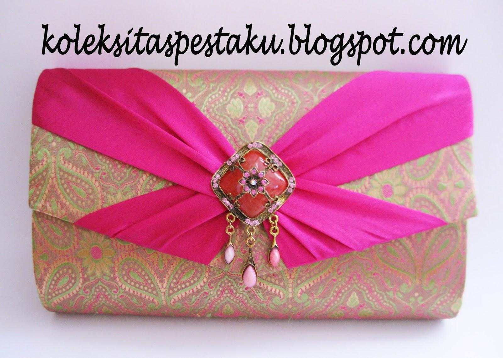 Tas Pesta Tenun Srai India Mirip SOngket Pink Fanta Cantik