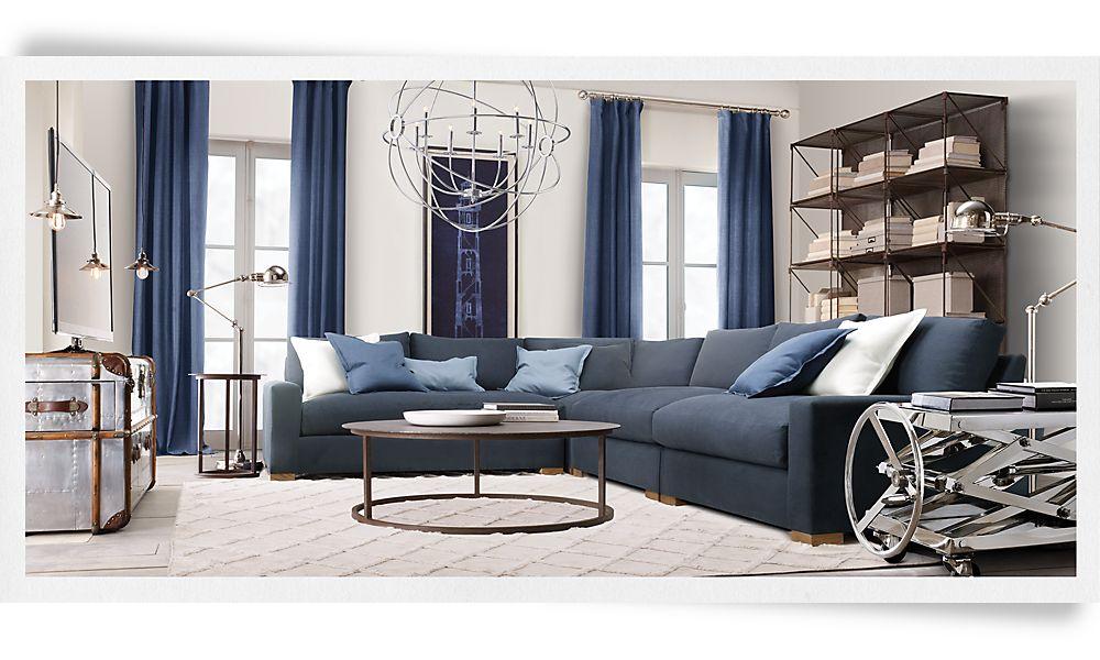 The corson cottage restoration hardware does blue - Restoration hardware living room ideas ...