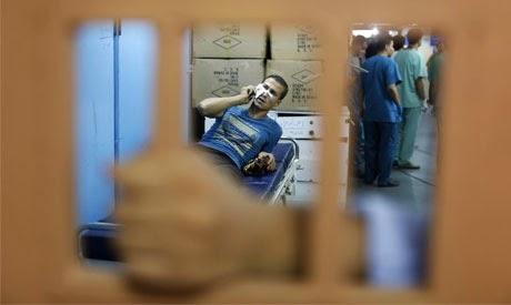 Gaza hospital ward amid bombardment by the IDF.