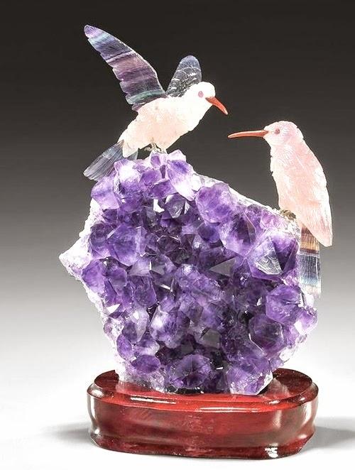 Precious stones bird carving crafts and arts ideas