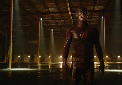 The Flash Grant Gustin red leather mask lightning bolt