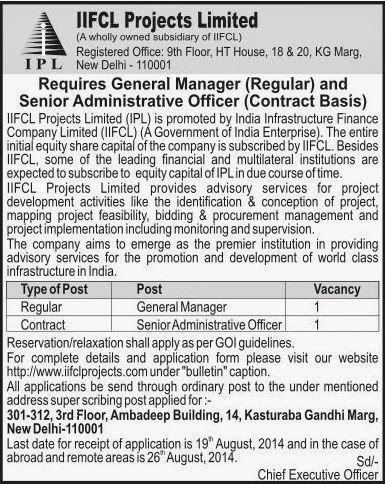 IIFCL Projects Ltd (IPL) Recruitments (www.tngovernmentjobs.in)