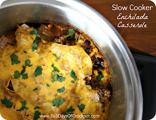 Slow Cooker Recipe for Beef Enchilada Casserole #crockpotrecipe #slowcooker