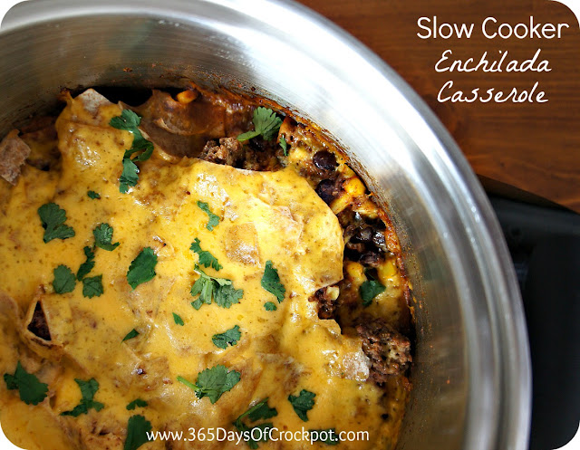 Recipe for Slow Cooker Enchilada Casserole #easydinner #casserole #easydinner #recipe