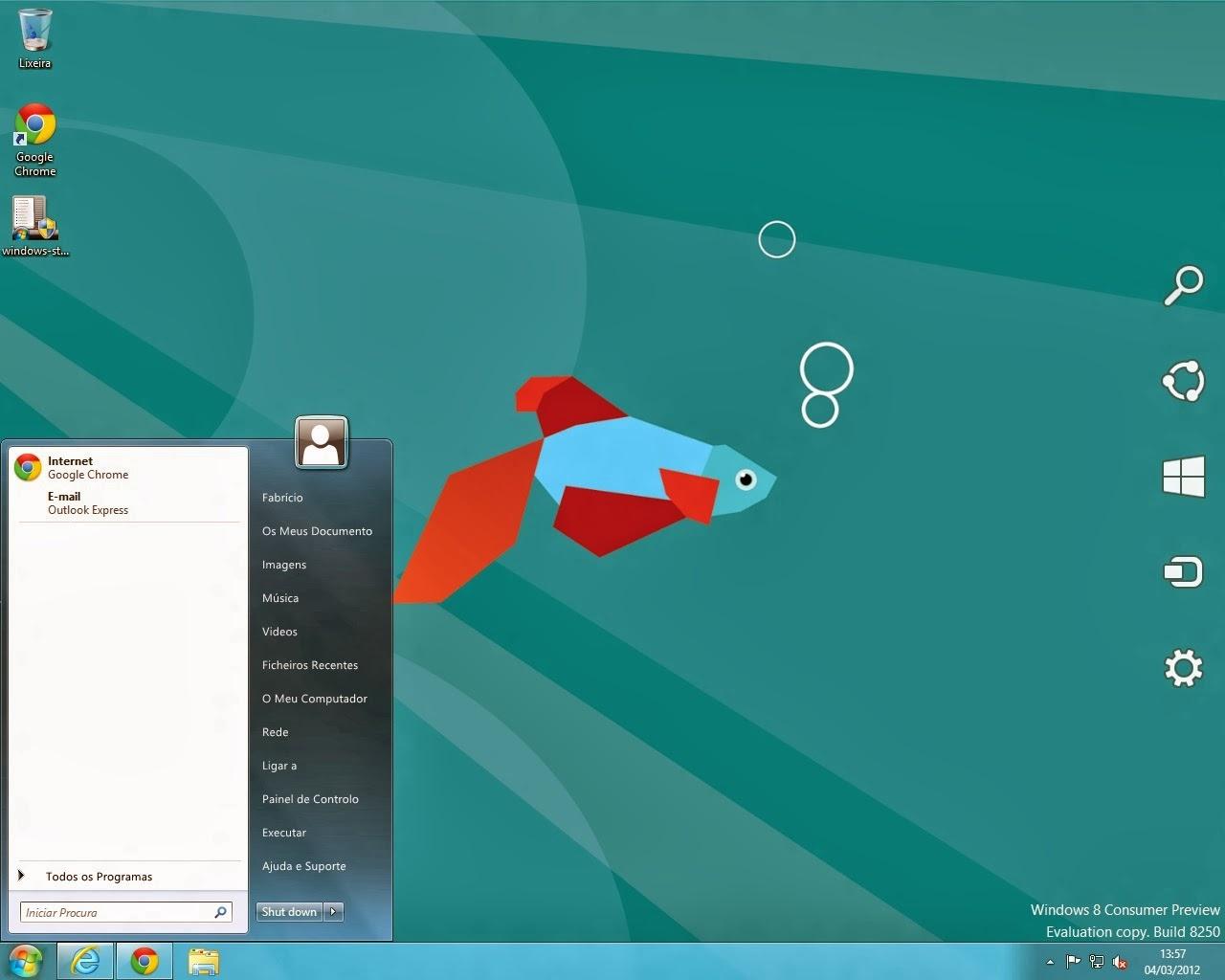 Ativando Menu Iniciar Windows 8 - 8.1