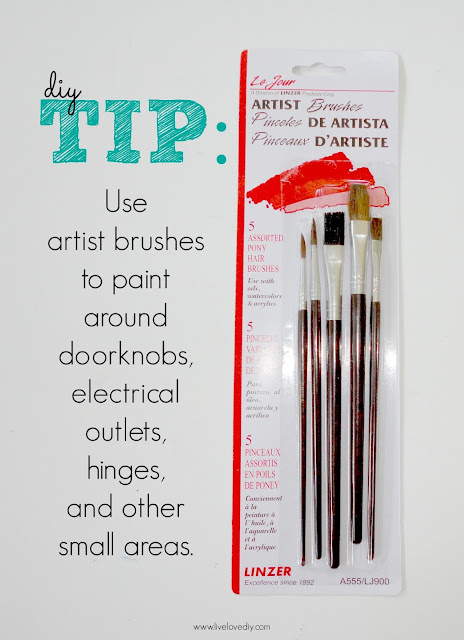 10 Paint Secrets: Use artist brushes to paint around doorknobs, electrical outlets, hinges, and other small areas! Such a time saver!