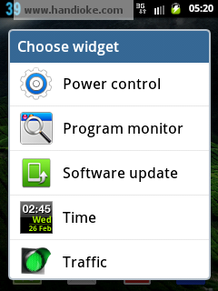 Memilih widget - Power Control