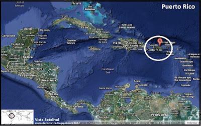 Mapa de Puerto Rico en Centroamérica y El Caribe, Vista Satelital