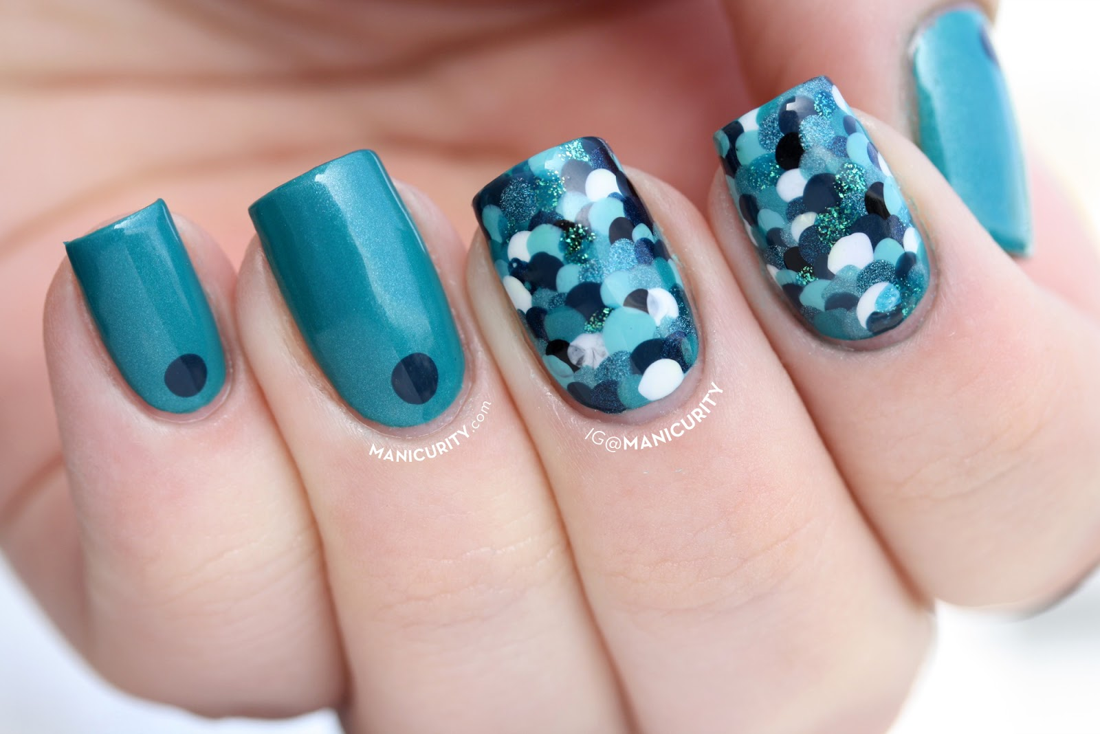 Mermaid Nails in Shades of Teal for Digit-al Dozen Monochrom week - Manicurity.com | mermaid scale dotticure nails done with 7 different shades of teal!