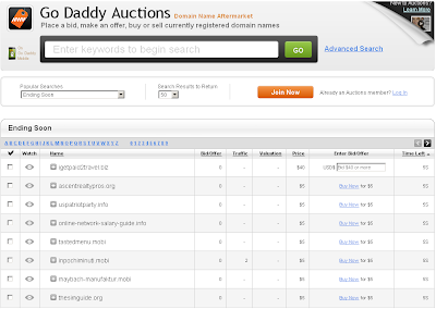 Analisis Website Go Daddy Auction