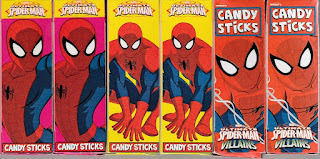 Back view of Ultimate Spider-Man Villains Candy Sticks boxes set three