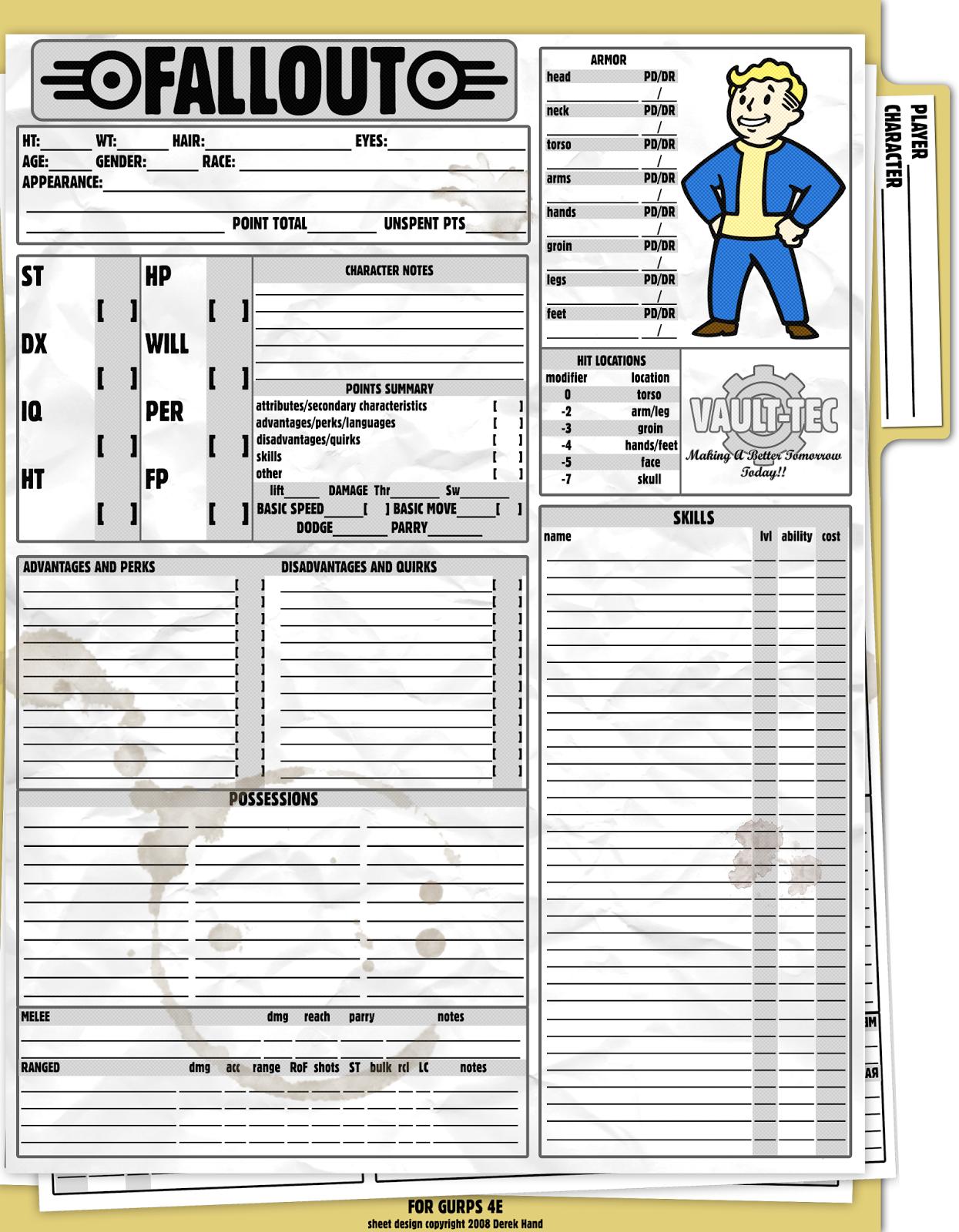 Casta Rolera: GURPS - Fallout [Hoja de Personaje - Ingles]