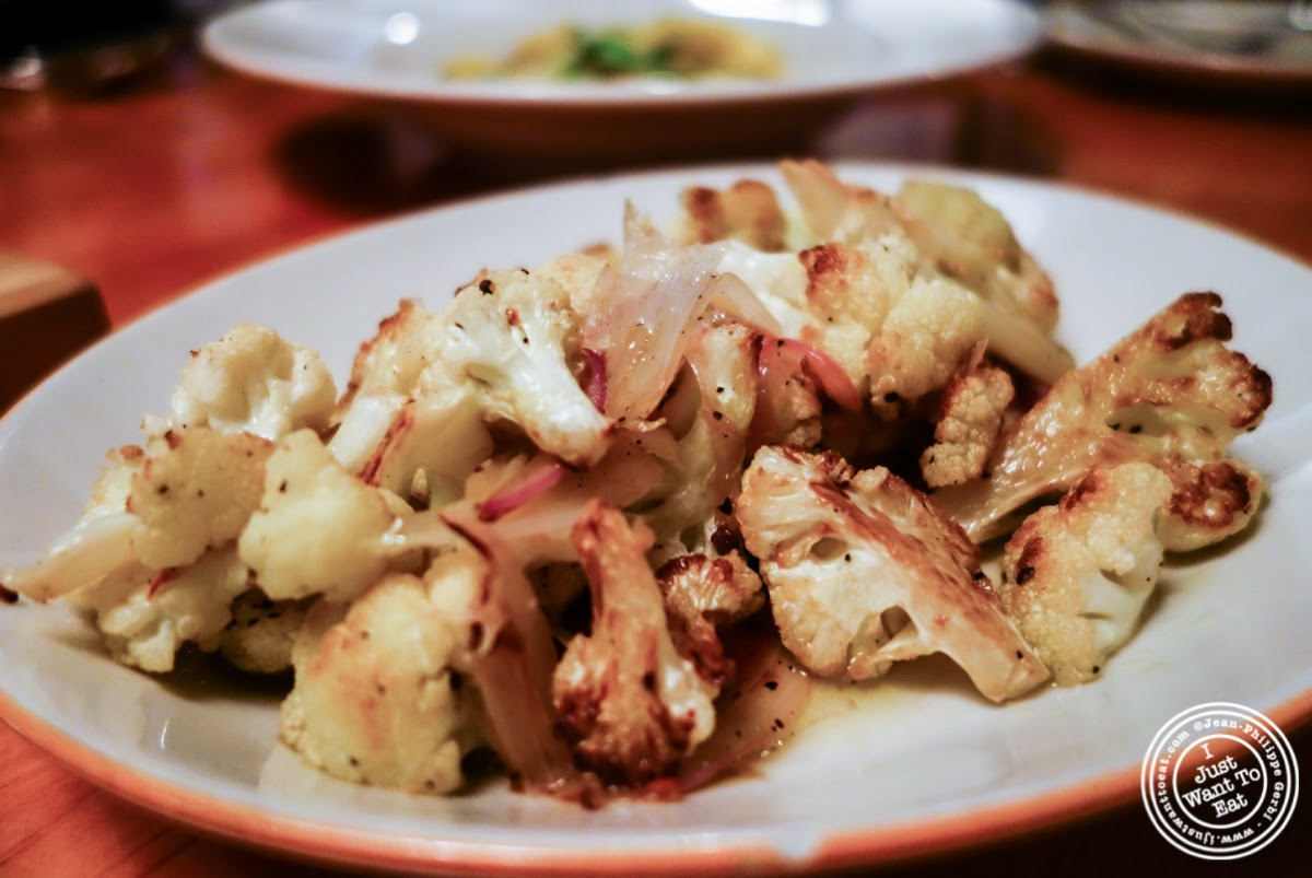 image of roasted cauliflower at Left Bank in the West Village, NYC, New York