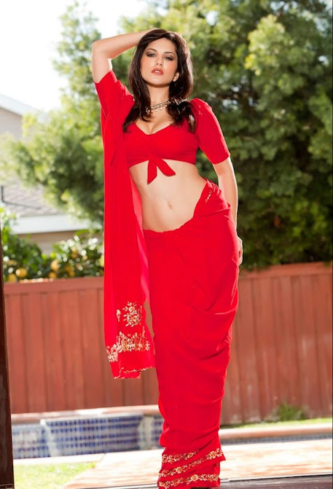 sunny leone | in red saree ss hot photoshoot