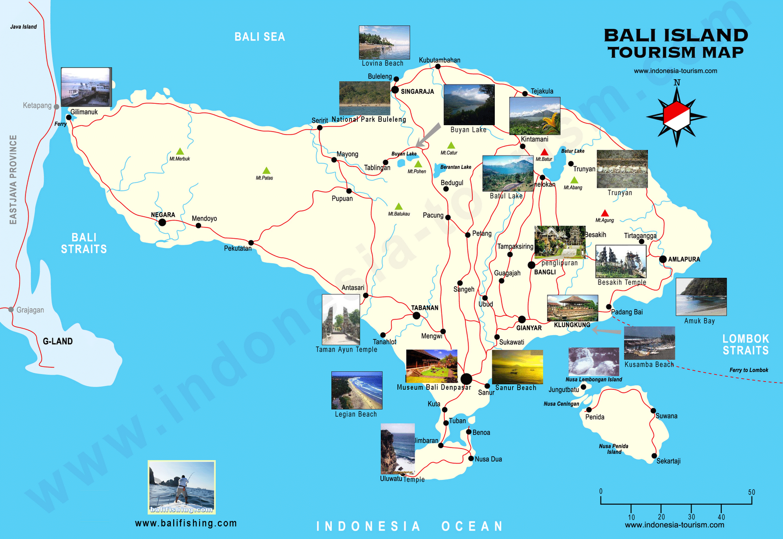 Bali Indonesia Tourist Map