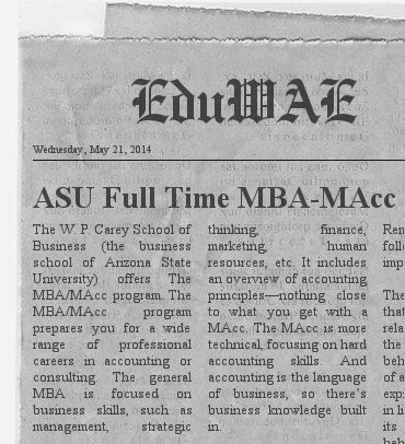ASU Full Time MBA-MAcc Program