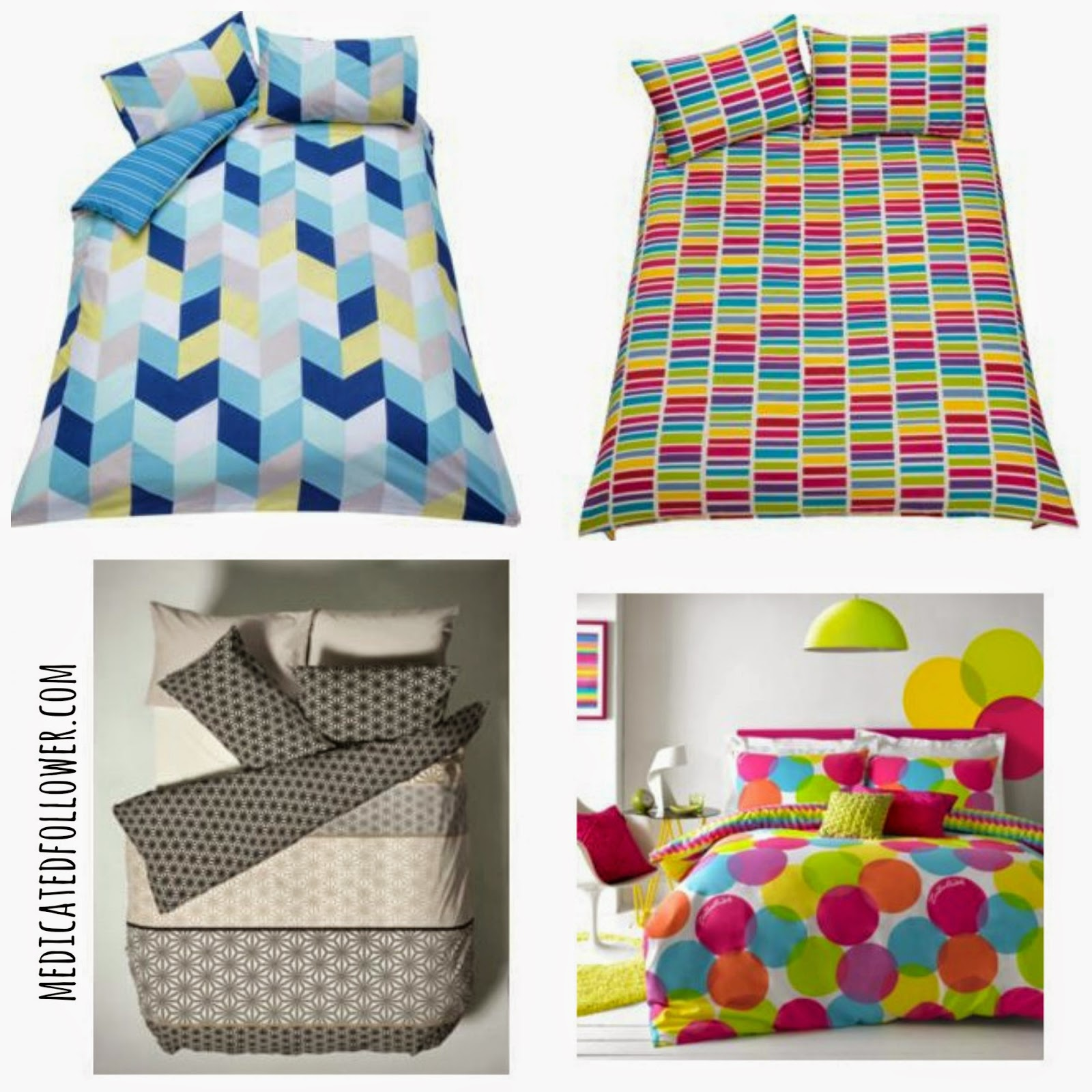Argos bedding, duvet covers, geometric, bright, modern, medicated follower of fashion