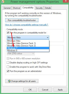 Windows 8 compatibility settings to Windows 7