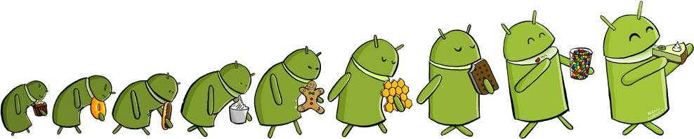 Evolution of Android OS Versions, Cupcake,Donut,Eclair,Froyo,Gingerbread,Honeycomb,ICS,KLP
