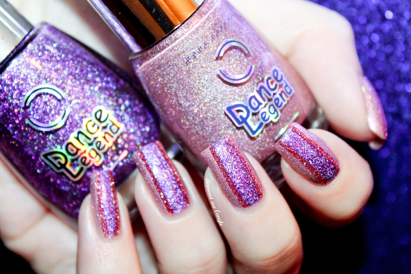 pink and purple holographic nail art