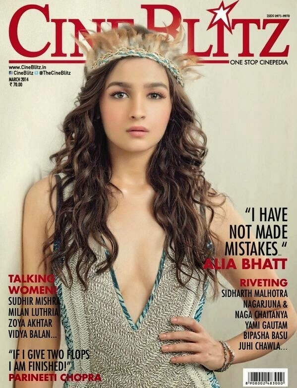 Alia Bhatt Sizzling Photoshoot for Cineblitz March 2014 Cover Page