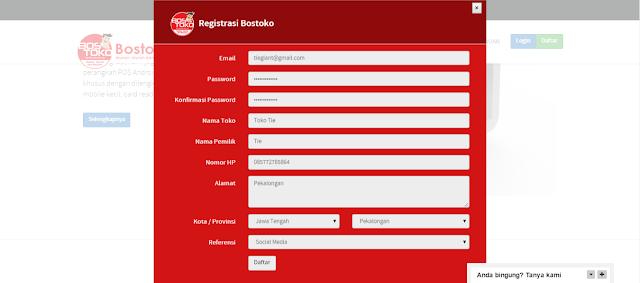 Registrasi (Daftar) Bostoko