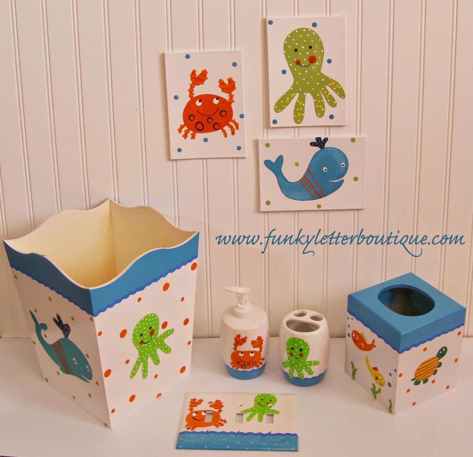 Complete Under Water Sea Creatures Kidu0027s Bathroom Decor Set