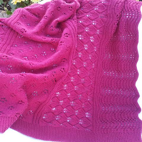 Raspberry Lace Baby Blanket