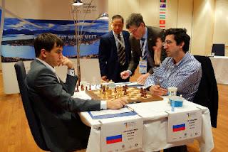 Echecs à Tromsø : Andreikin 1/2 Kramnik lors de la 4e partie © Paul Truong